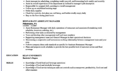 Resume Sample For Assistant Restaurant Manager