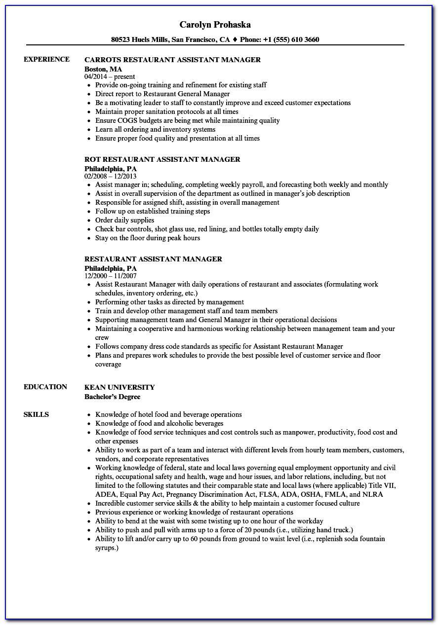 Resume Sample For Assistant Restaurant Manager