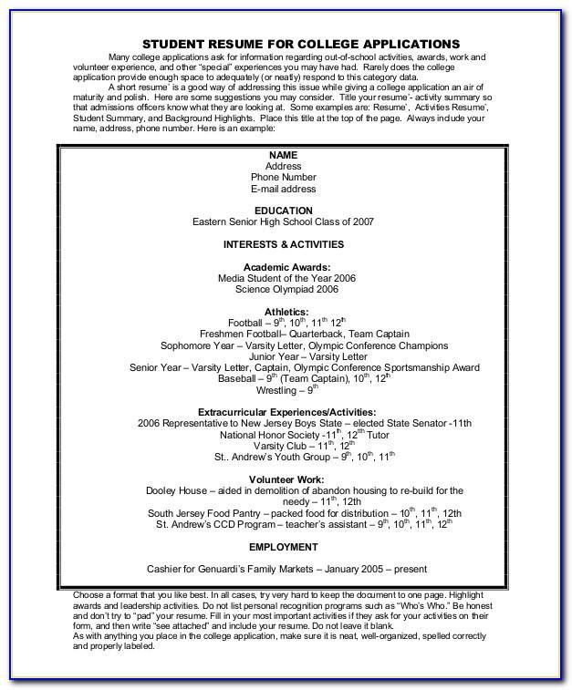 Resume Sample For College Admission