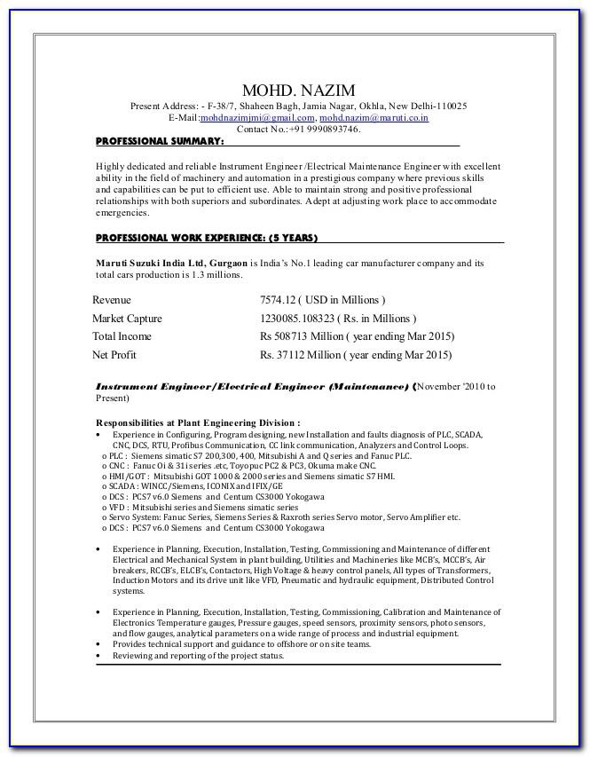 Resume Sample For Construction Project Manager