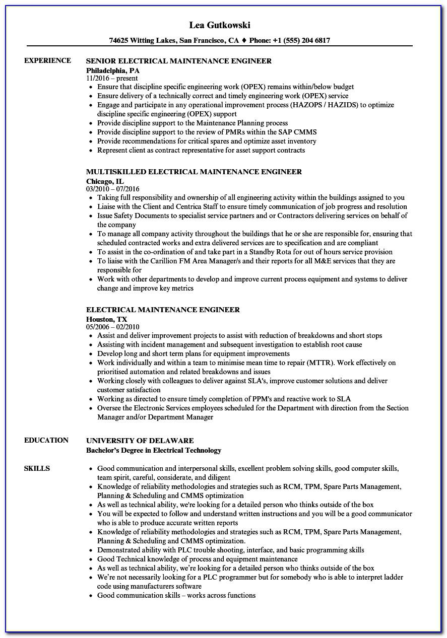 Resume Sample For Electrical Maintenance Engineer