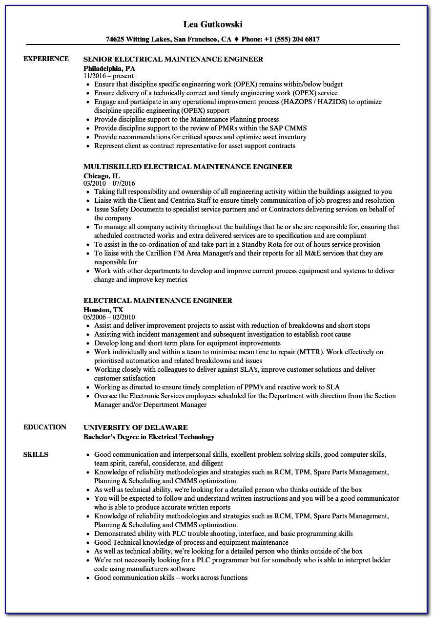 Resume Sample For Electrical Maintenance Engineer