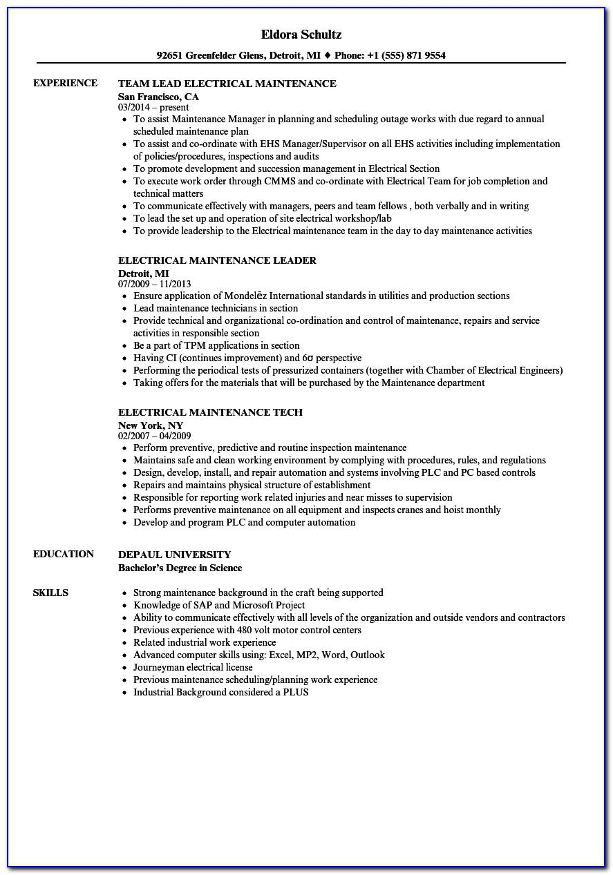 Resume Sample For Electrical Maintenance Manager