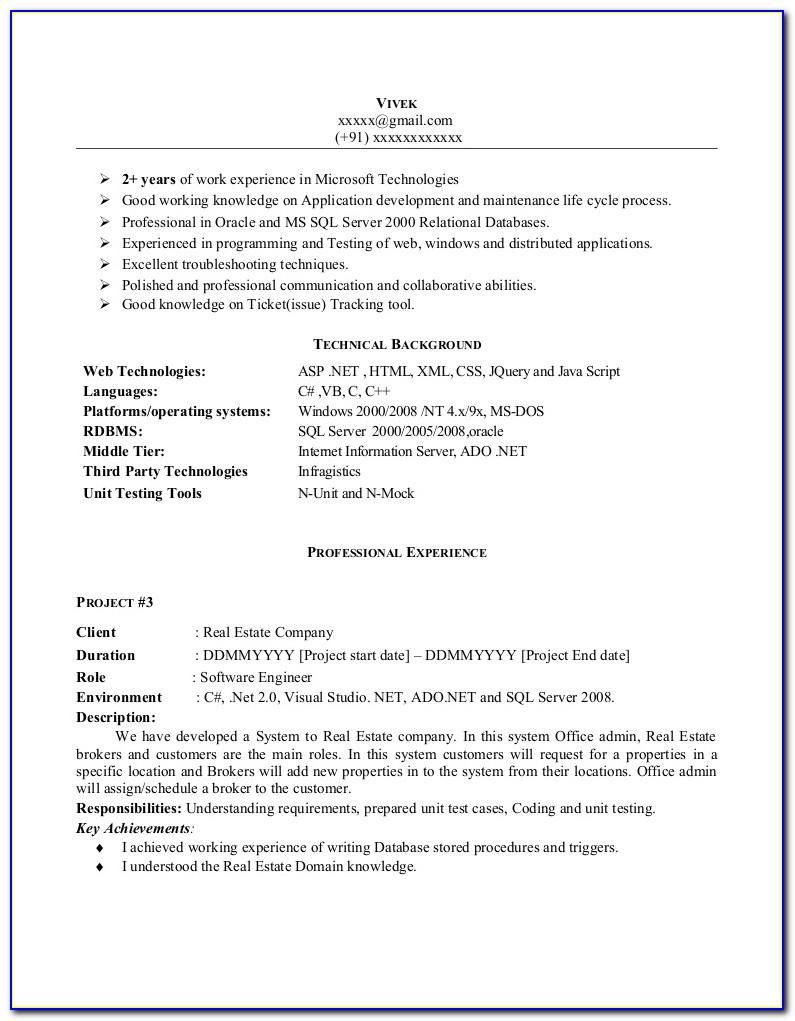 Resume Sample Format No Experience