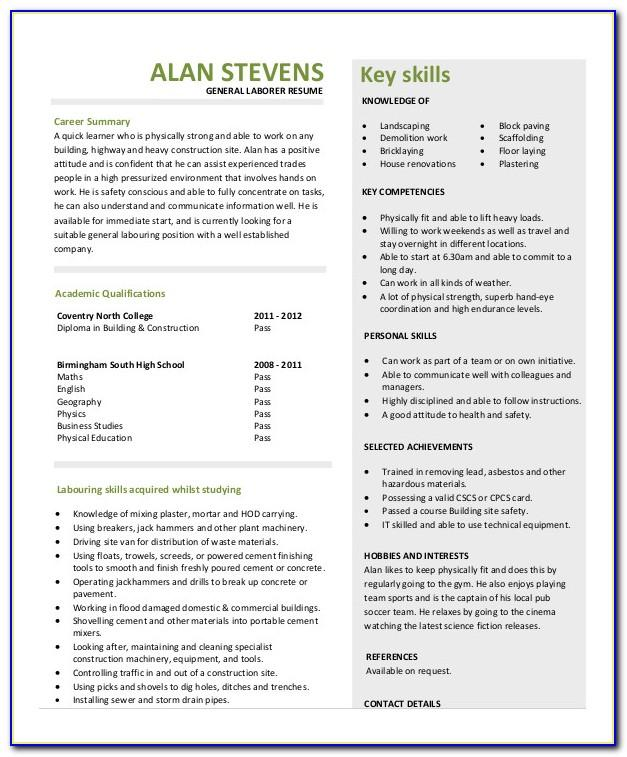 Resume Samples Construction Laborer