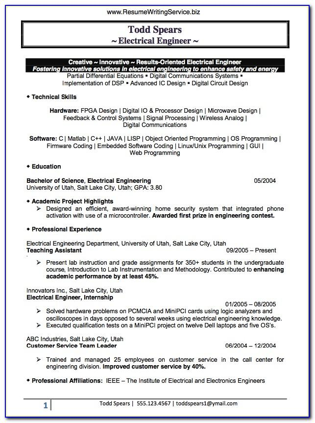 Resume Samples For Construction Project Managers
