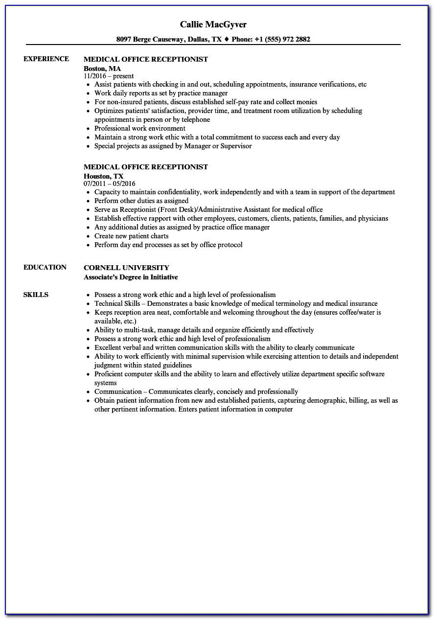 Resume Samples For Medical Office Receptionist
