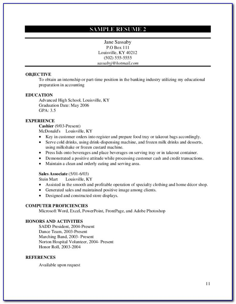 Resume Samples For Sales Position