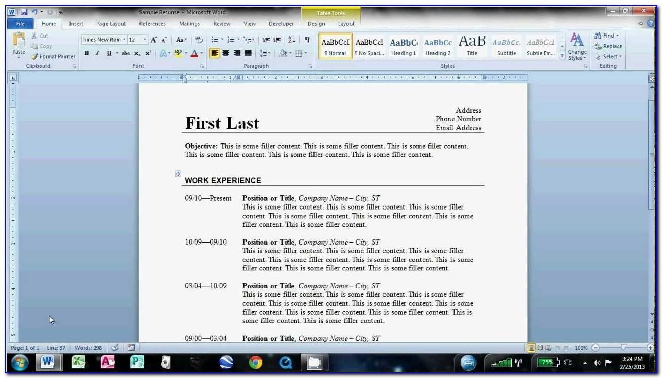 Resume Samples Free Download Doc