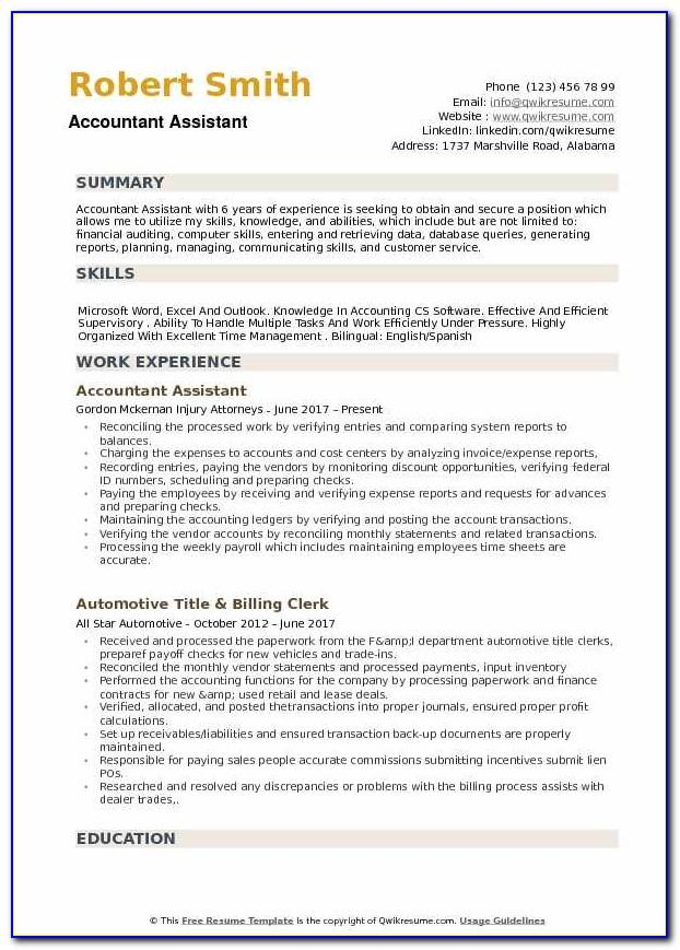 Resume Template Assistant Accountant