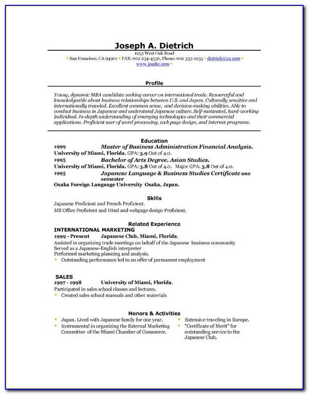 Resume Template Download Word Free