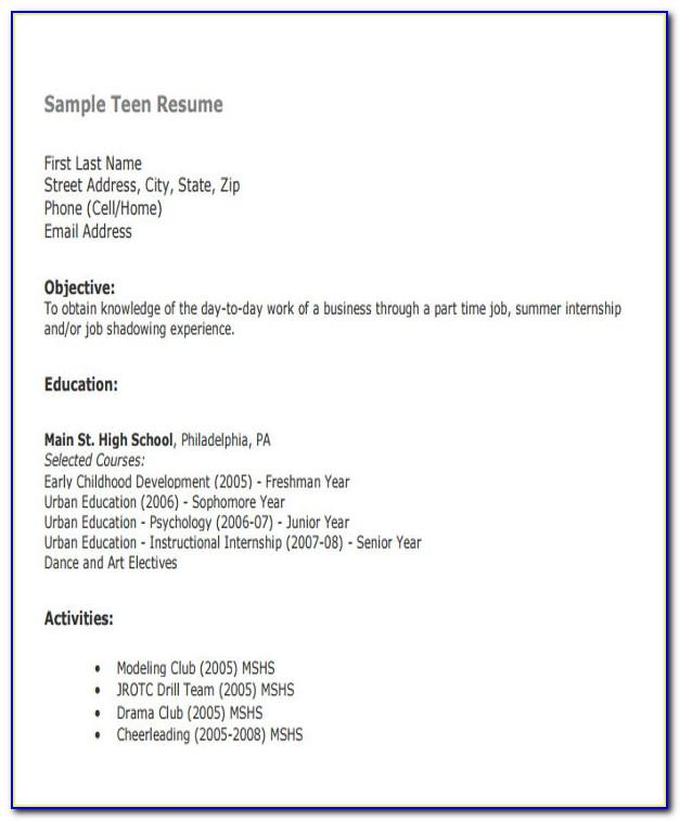 Resume Template Fill In Blank