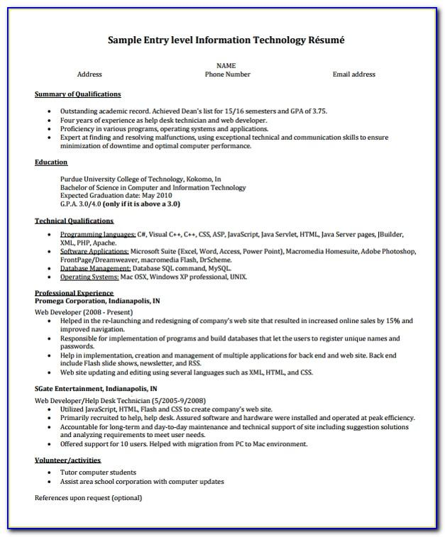 Resume Template Fill In Online