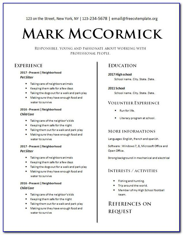 Resume Template Fill In The Blank