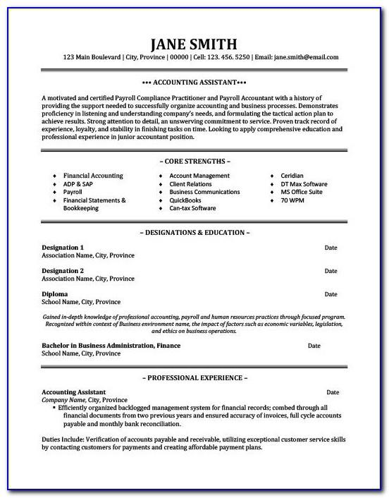 Resume Template For Assistant Accountant