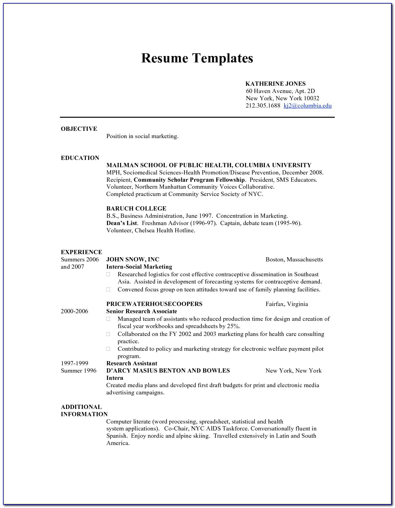 Resume Template For Australian Jobs