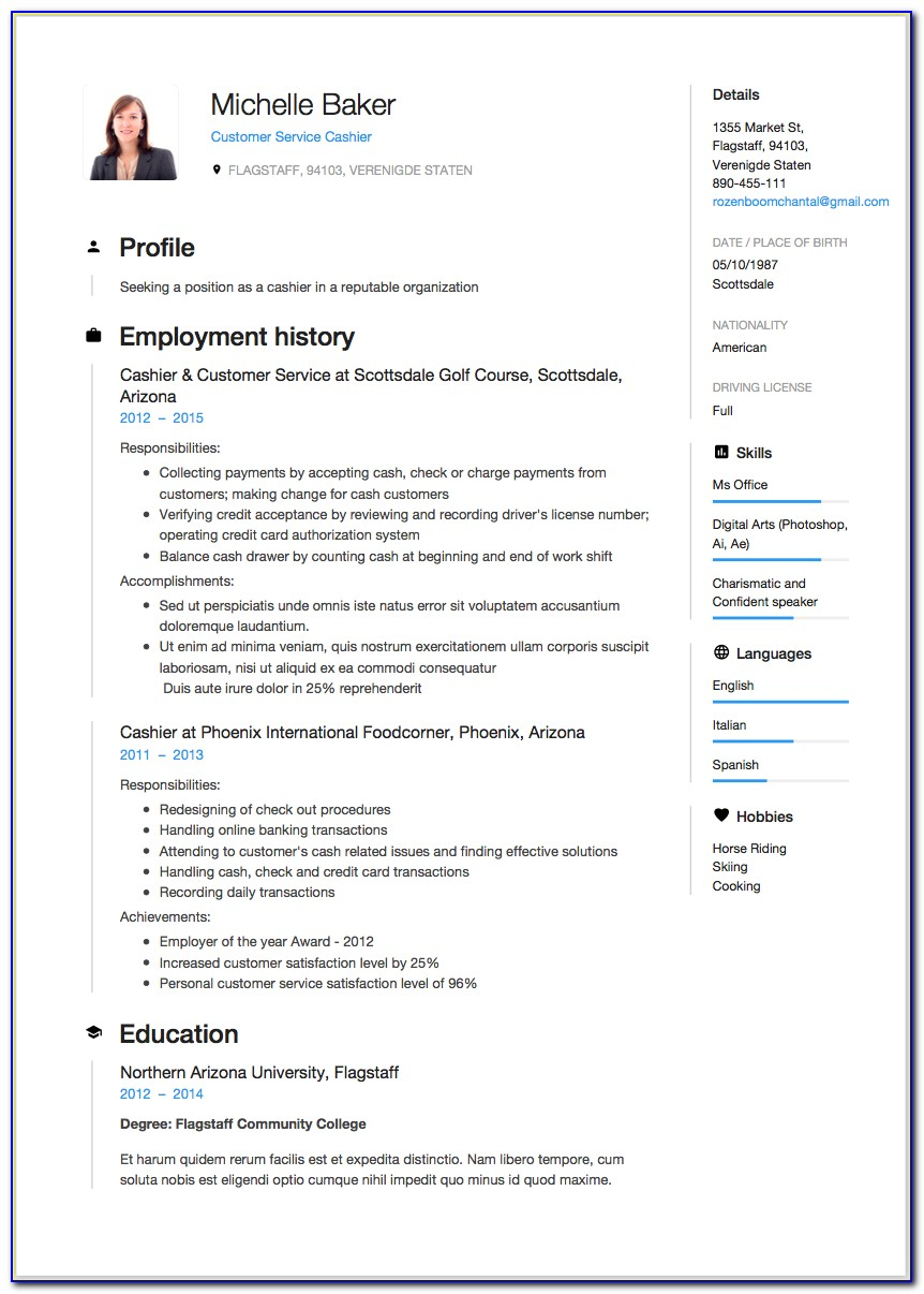 Resume Template For Bartender
