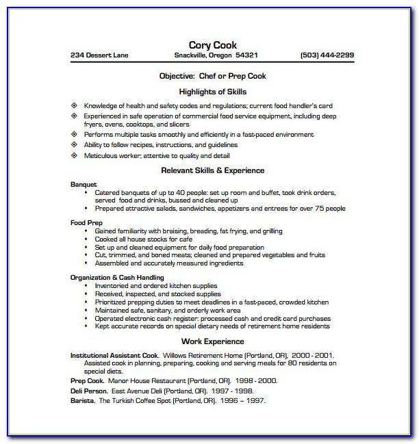 Resume Template For Cashier Position