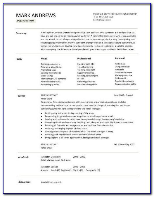 Resume Template For College Graduates No Experience