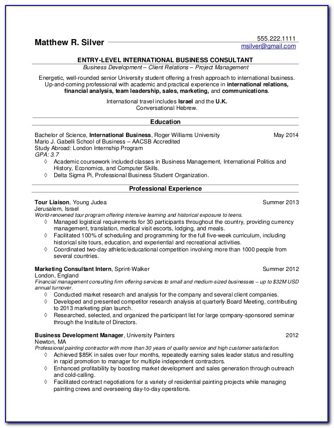 Resume Template For College Student Looking For Summer Job