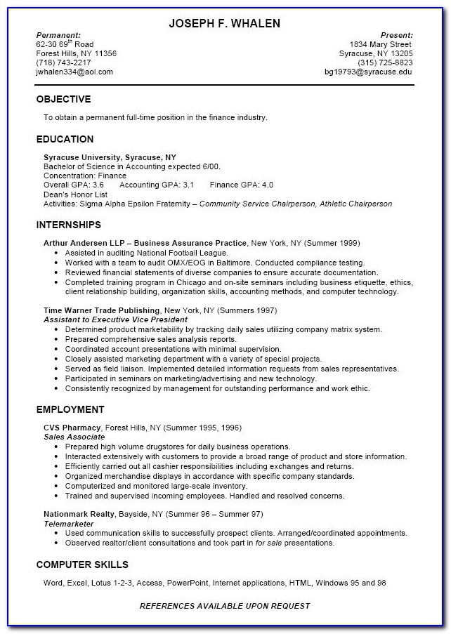 Resume Template For College Students Still In School