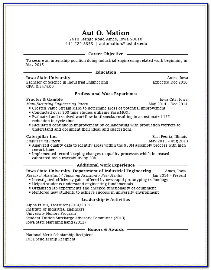 Resume Template For Engineering Student