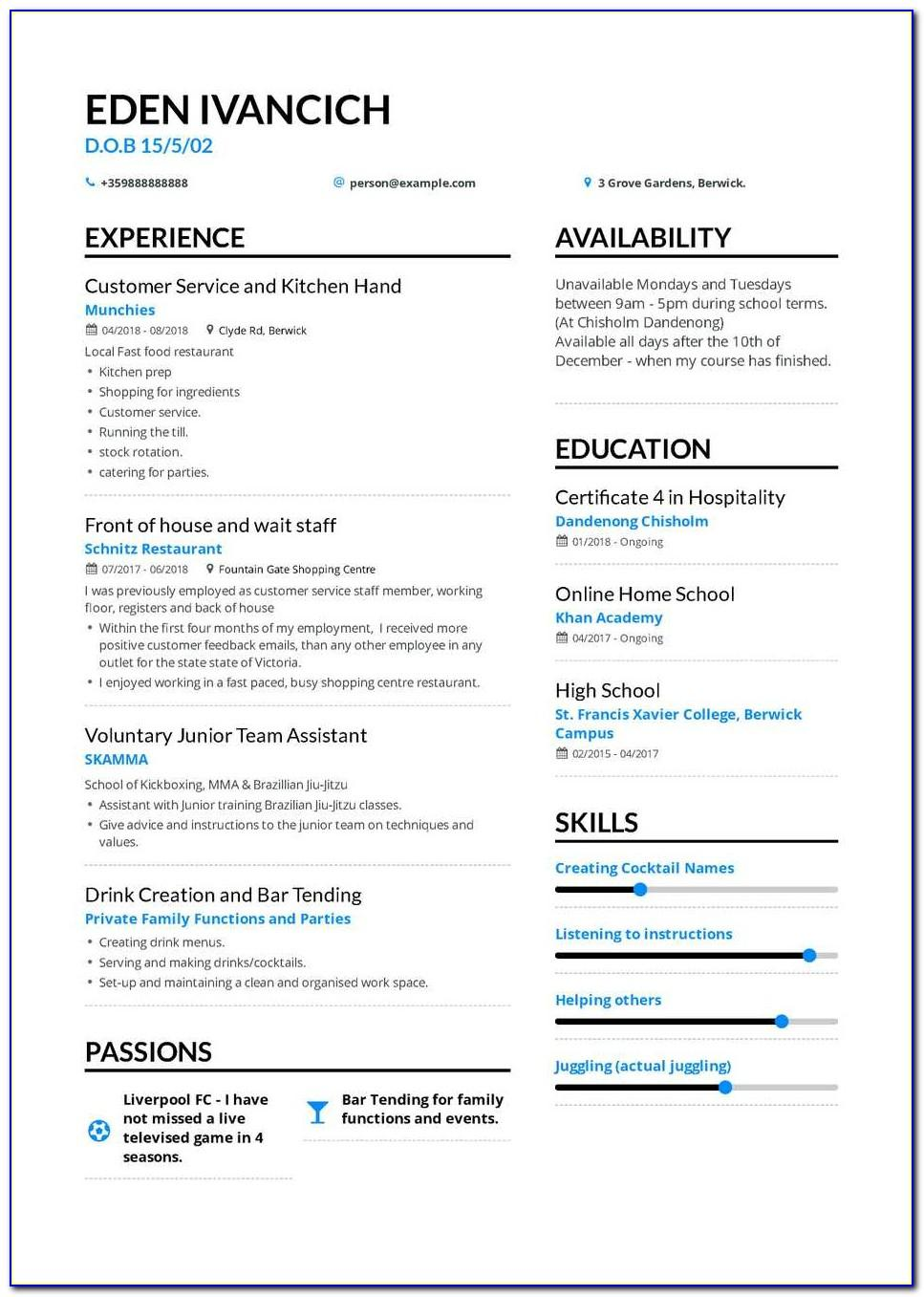 Resume Template For First Job After College