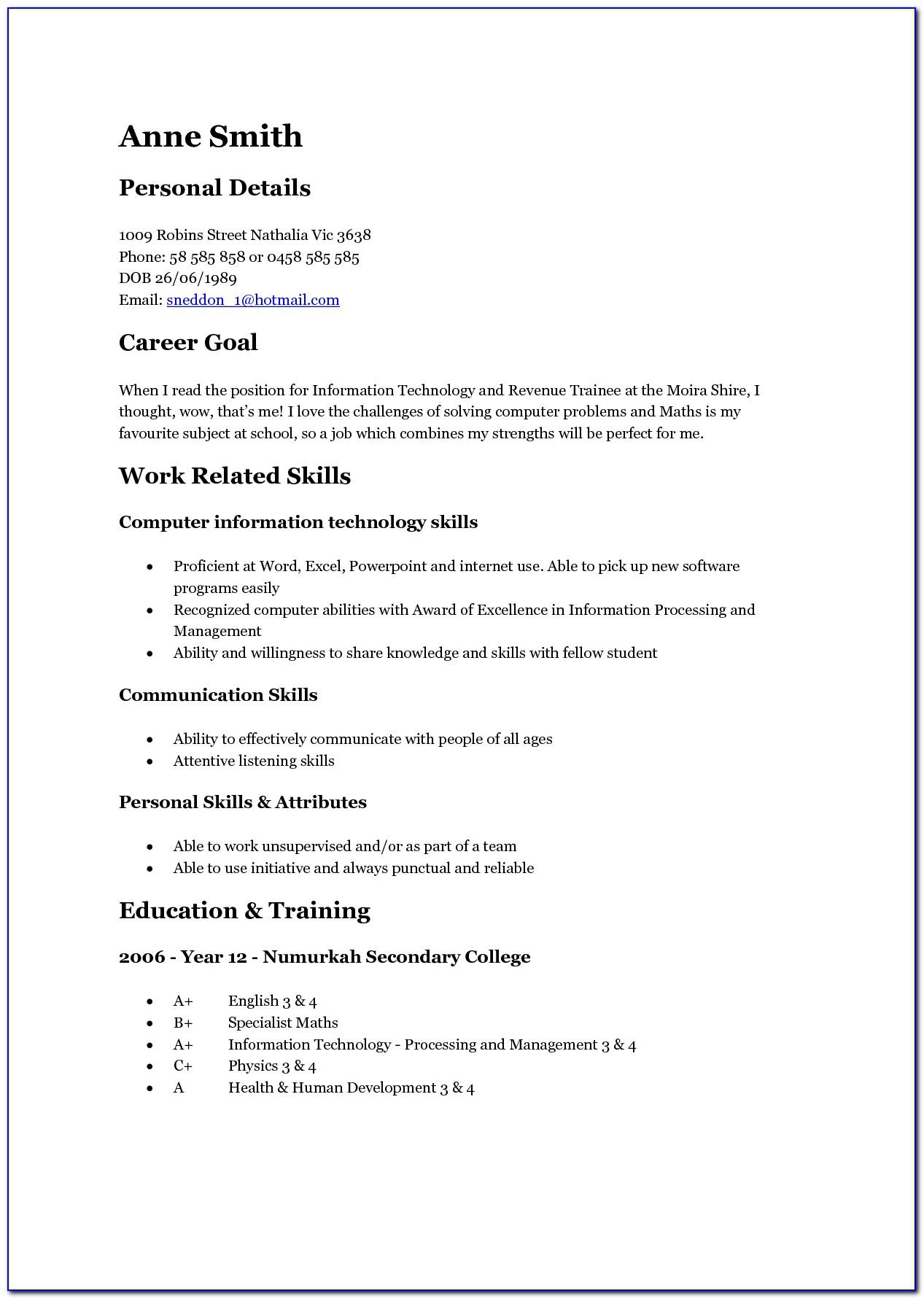 Resume Template For First Job Teenager