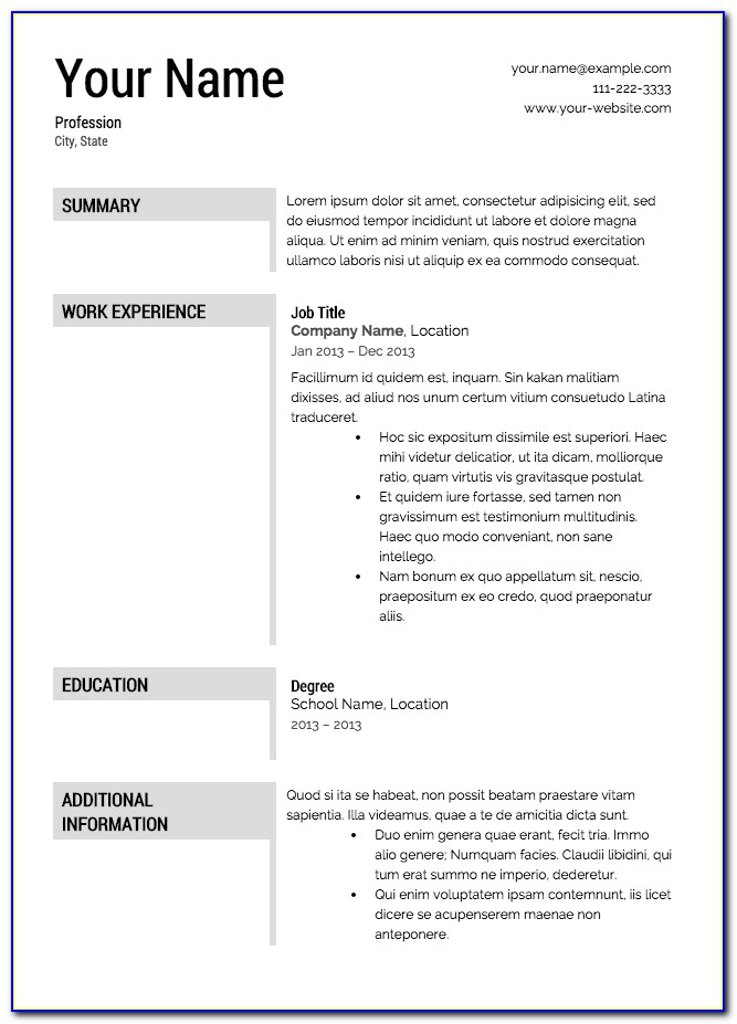 Resume Template For Free Printable