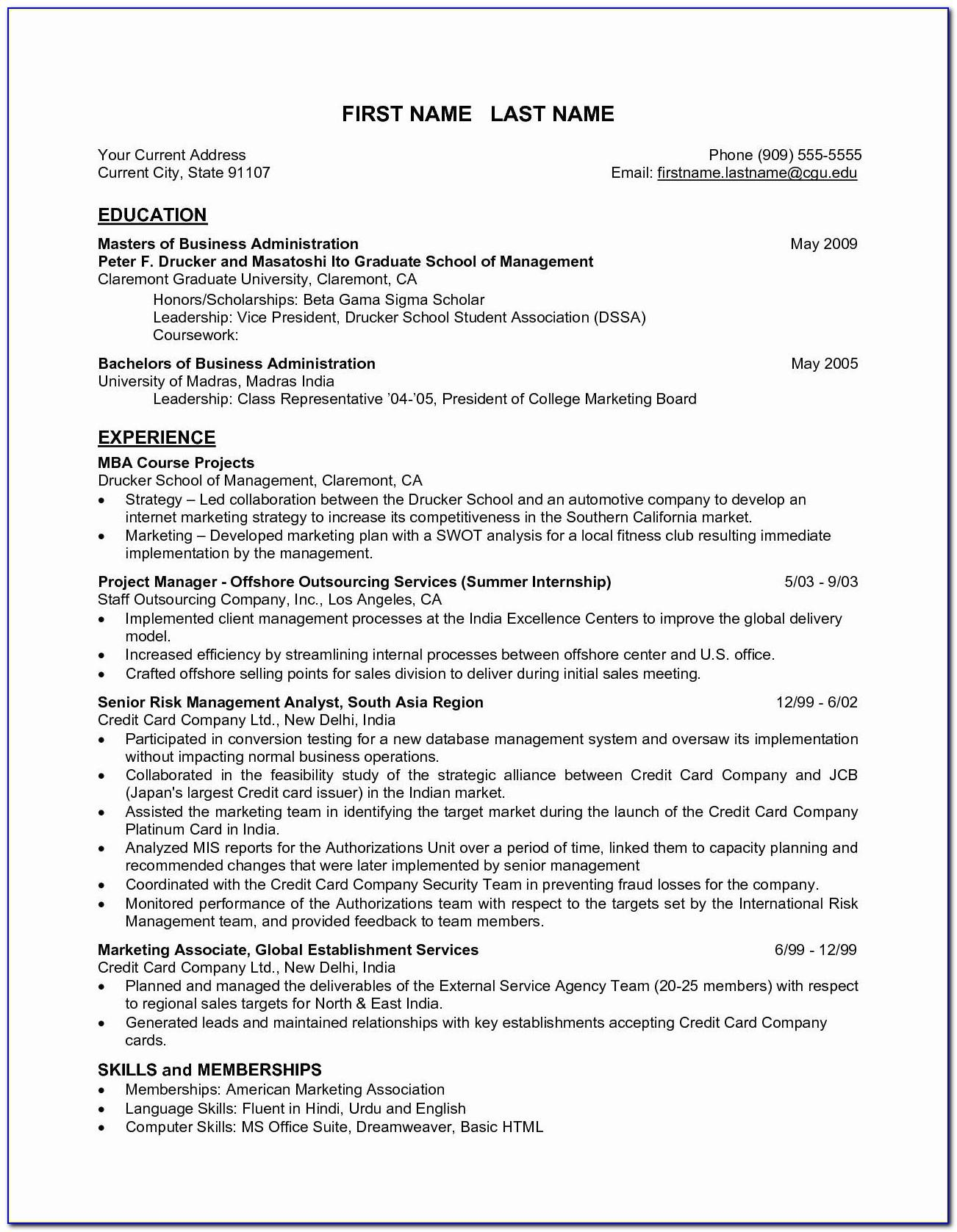Resume Template For Freshers Engineering