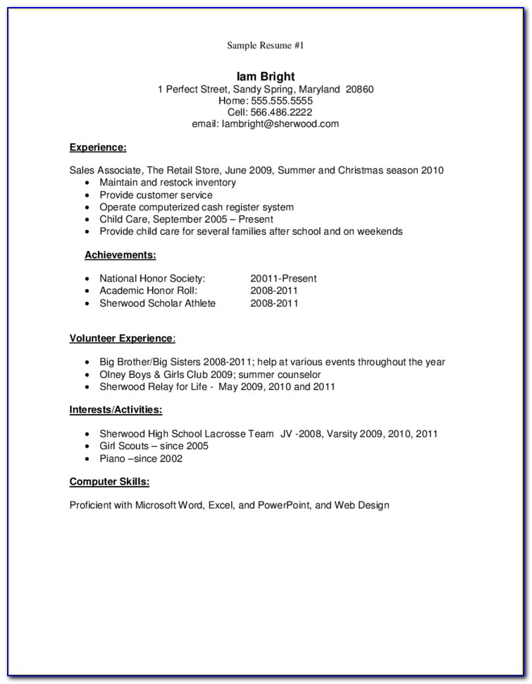 Resume Template For High School Graduates