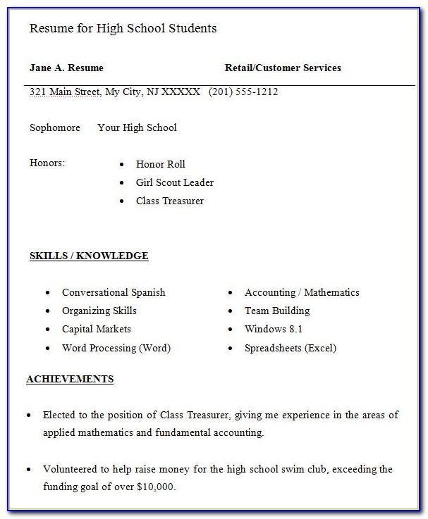 Resume Template For High School Students Canada
