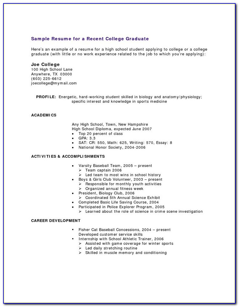 Resume Template For High School Students Free