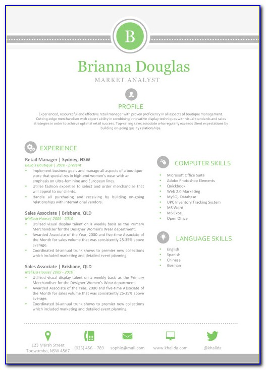 Resume Template For Mac Computer