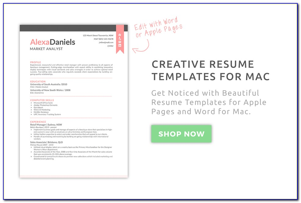 Resume Template For Mac Textedit