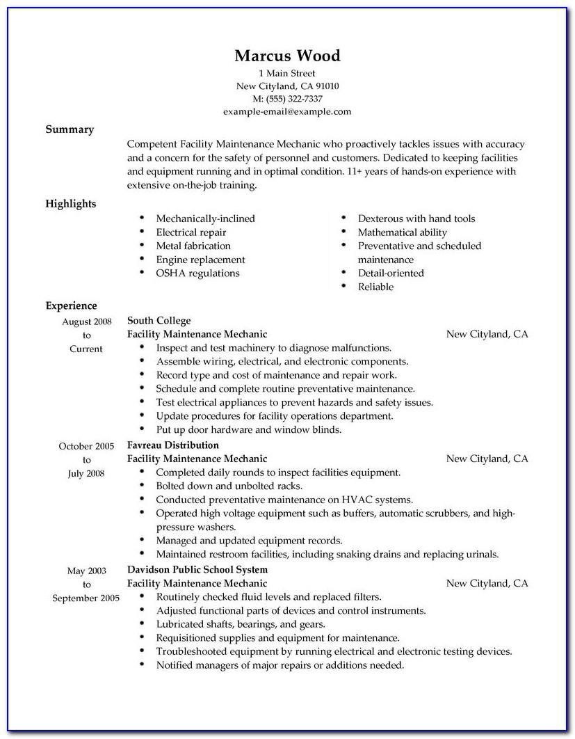 Resume Template For Manager