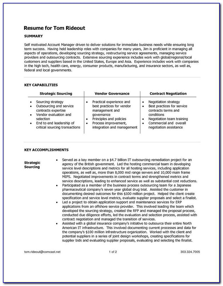Resume Template For Managerial Position