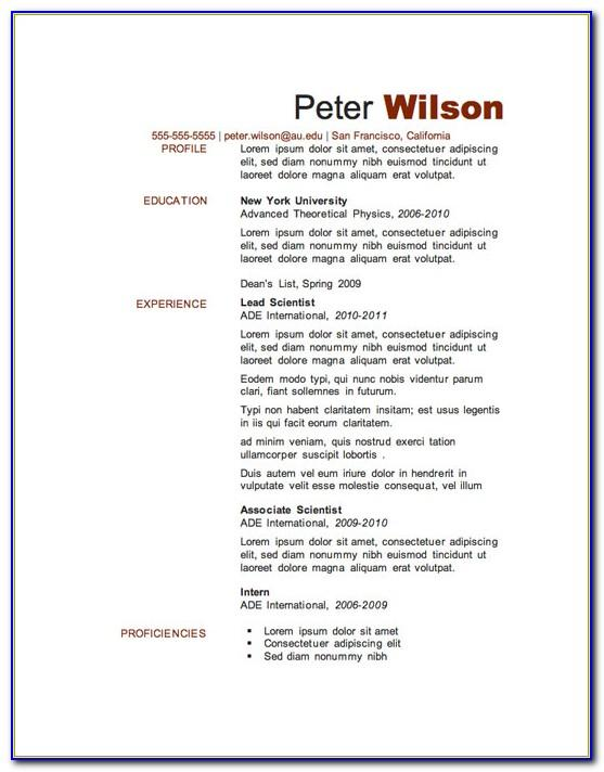 Resume Template For Microsoft Word 2010