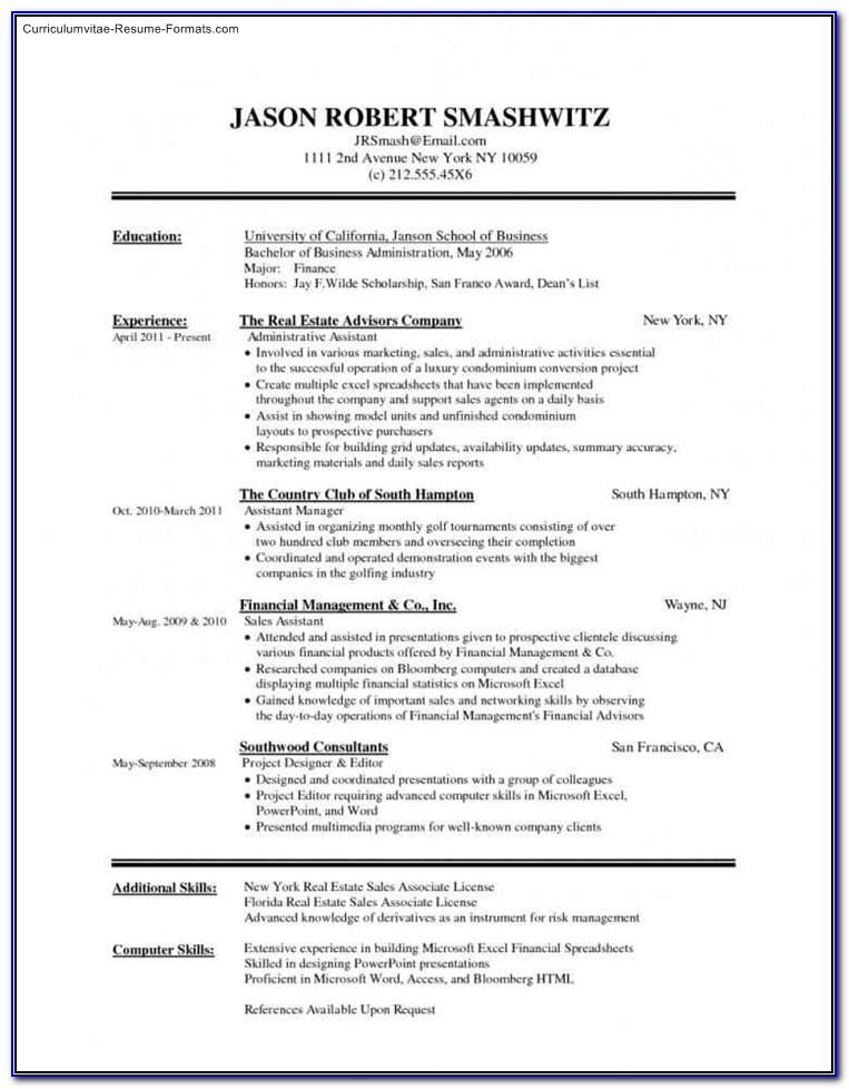 Resume Template For Ms Word 2007
