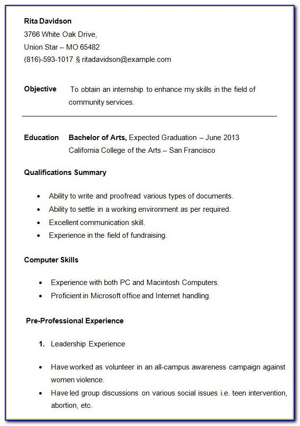 Resume Template For Non College Graduate