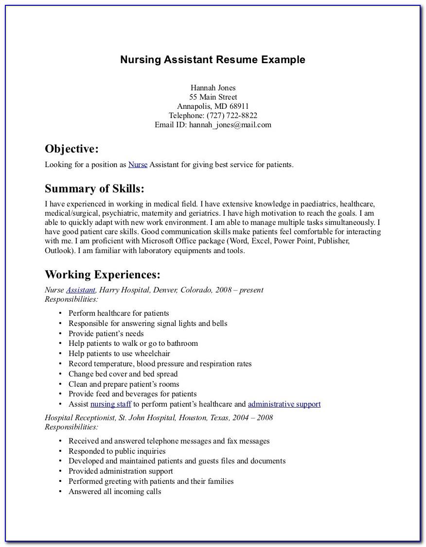 Resume Template For Nurses Free