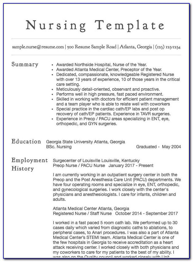 Resume Template For Nursing School Application