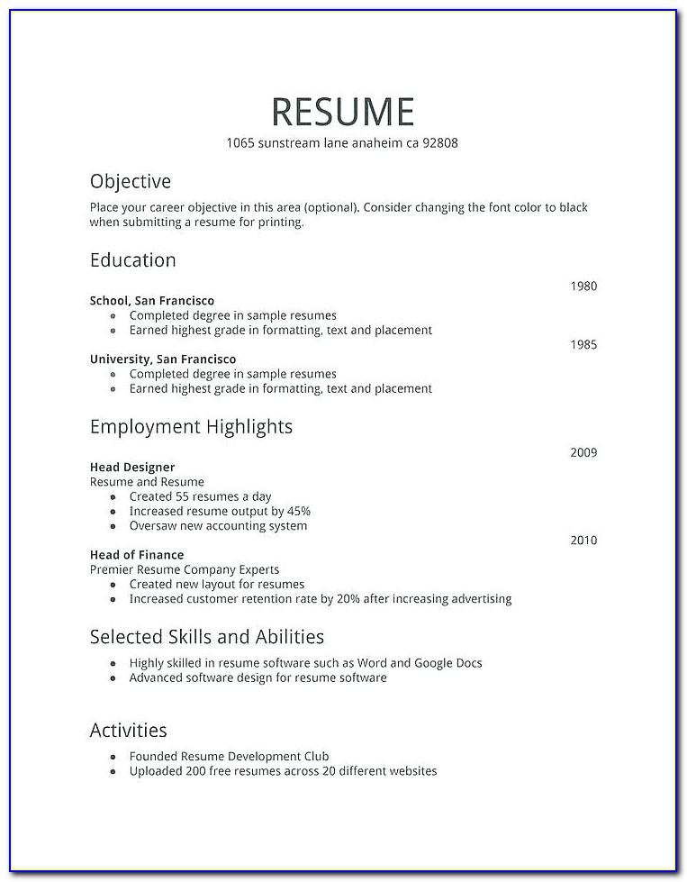Resume Template For Professional
