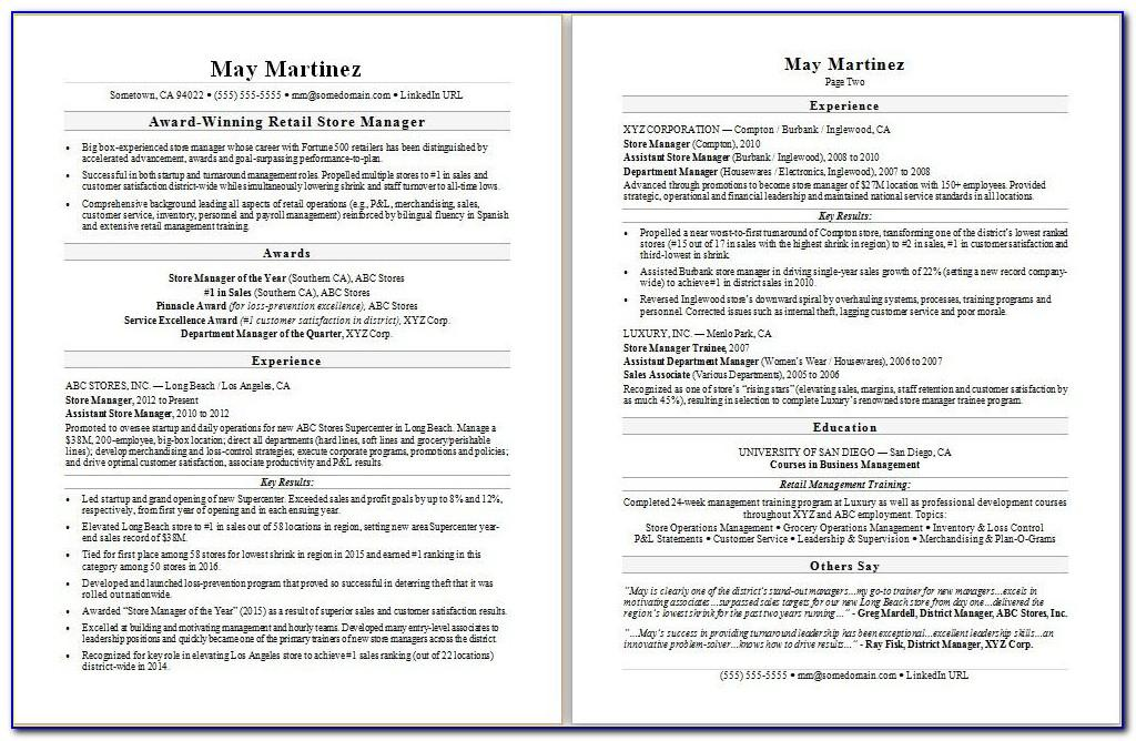 Resume Template For Retail Sales