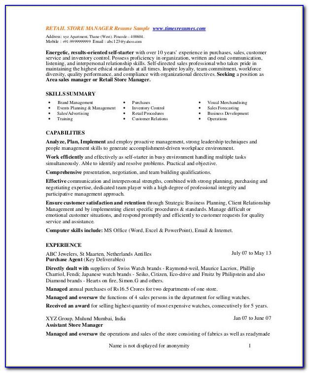 Resume Template For Retail Store Supervisor