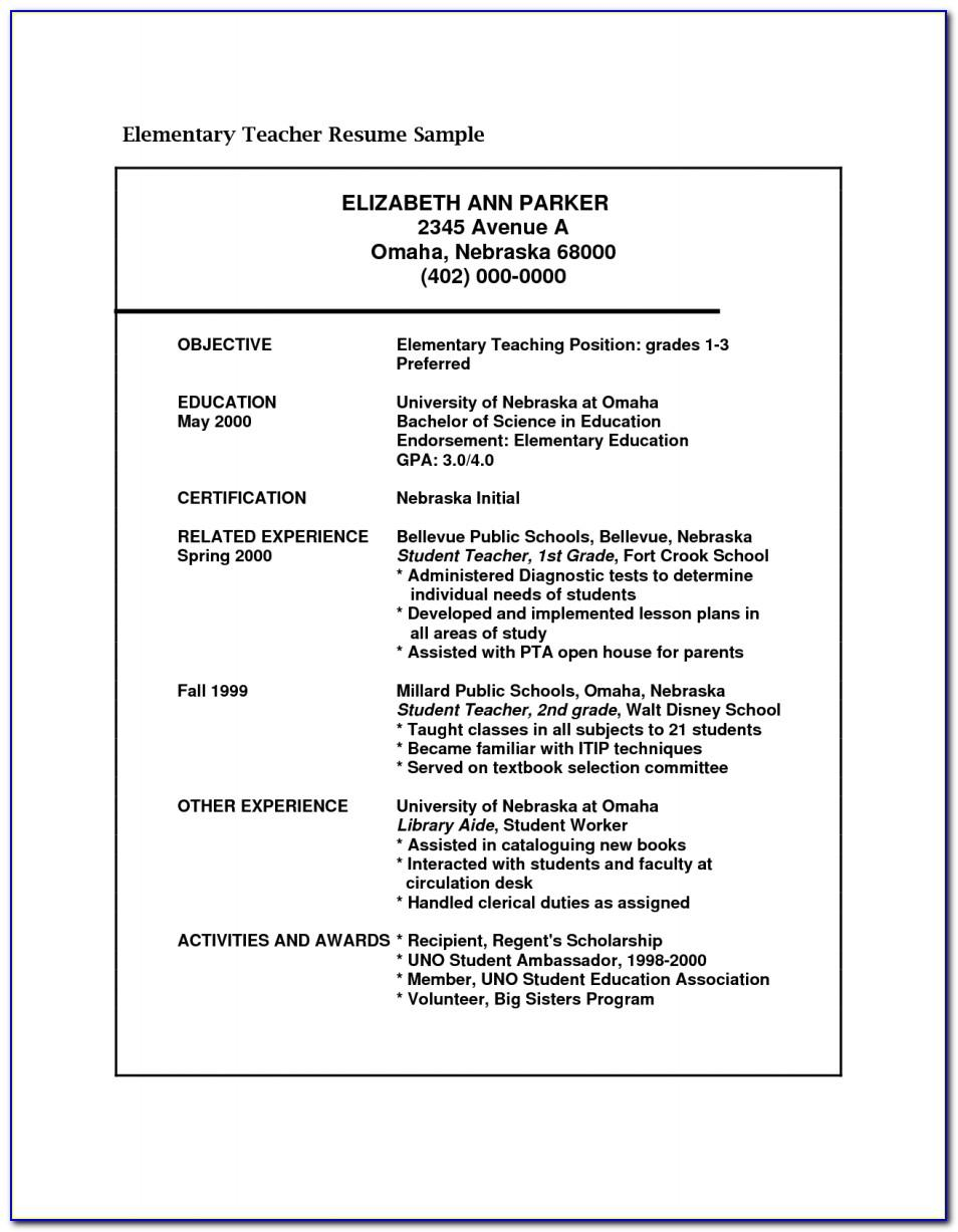 Resume Template For Teachers Job