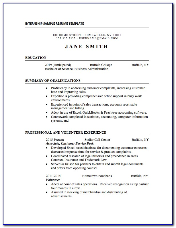 Resume Template For Undergraduate Internship