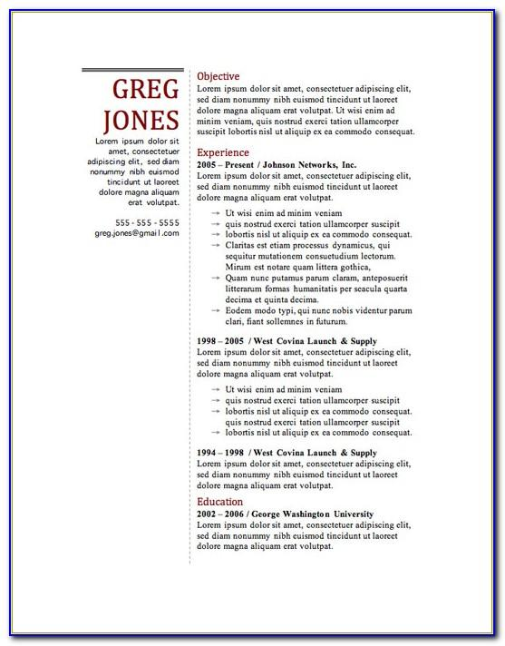 Resume Template For Word 2010