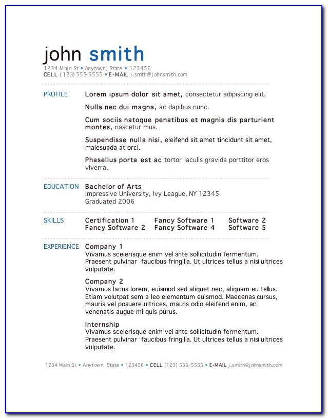Resume Template For Word Online