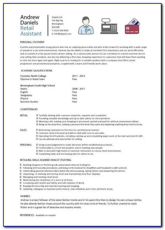Resume Template No Experience Retail
